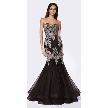 Strapless Mermaid Tulle Gown Black/Gold Lace Details And Beading