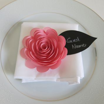 Set of 6 Pretty Pink Scalloped Rose Guest Name Cards, Event Place Setting, Food Label Tags, Black Leaf