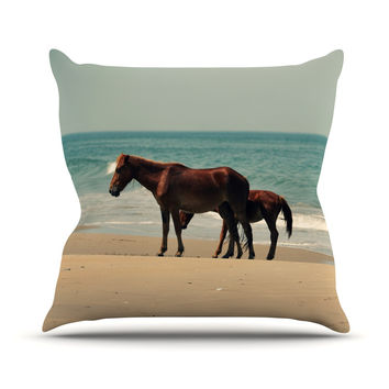 "Robin Dickinson ""Sandy Toes"" Beach Horses Outdoor Throw Pillow"