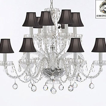 Murano Venetian Style All Empress Crystal (Tm) Chandelier! With Crystal Balls And Black Shades! - A46-B6/Sc/Blackshades/385/6+6