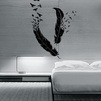 Wall Sticker Birds Flying of Feather Beautiful  Decor for your Bedroom (z1379)
