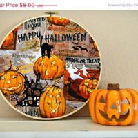 Halloween Sale Halloween Wall Decor Hoop Art Pumpkins Ghosts Bats Black Cat Haunted House Orange Gray Decorative