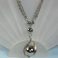 Three Chain Necklace Large Silver Ball Pendant Silver Tone Vintage