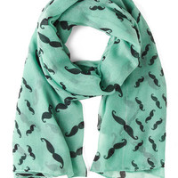 Mustachioed to Joy Scarf in Mint | Mod Retro Vintage Scarves | ModCloth.com