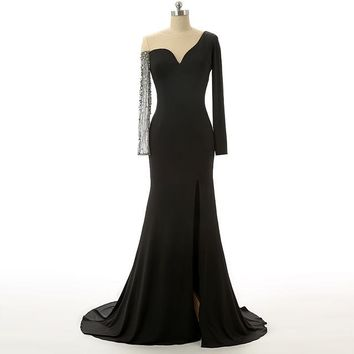 Black Chiffon Tulle Prom Dresses Backless Court Train Beads Long Beautiful Prom Dresses