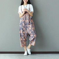 ONETOW Suspenders Pants Capri Summer Print Women Jumpsuit Romper Loose Casual Feather Pattern Overalls Female Fashion Dungarees