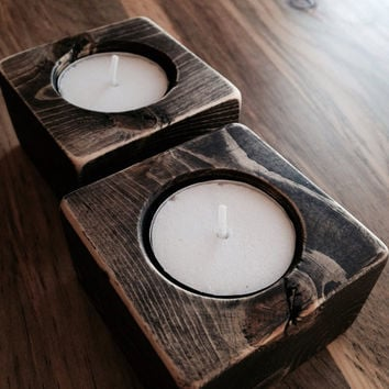 Wood Candle Holders- Black