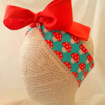 Mushroom Head Wrap - headwrap - baby headwrap - big bow tie head wrap - retro headwrap - knot headband - red blue mushroom headwrap -