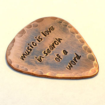 Music is Love in Search of a Word Rustic Copper Guitar Pick