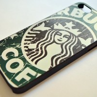 CrazyPomelo Personalized Embossed Painted (Starbucks, Cartoon, Fashion Etc.) Hard Cover Case for Iphone 5 Only+one Piece Random Color 3.5mm Anti Dust Earphone Jack Plug (Green Starbucks)