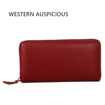 WESTERN AUSPICIOUS Women Purse Cow Leather Women Wallet Brand Long Style Unisex Purse Large Capacity Men Wallets Money Clip