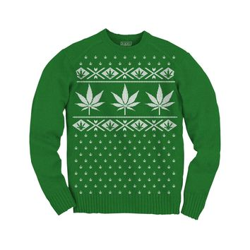 Ugly Christmas Sweater: Marijuana Leaf - Size XL