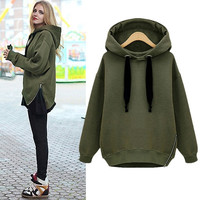 Womens Warm Coat Hoodie Parka Overcoat Long Jacket Zip Hem Sweatshirt Outerwear A_L