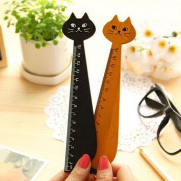 DCCKL72 15cm Lovely Cat Shape Ruler Cute Wood Animal Straight Ruler Gift For Kids School Supplies Stationery Black Yellow 1 PC