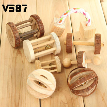 New Natural Wooden Pine Dumbells Pet Dog Chew Toys Unicycle Bell Roller Chew Toy For Cat Rabbits Hamster Rat Learning Play Toy