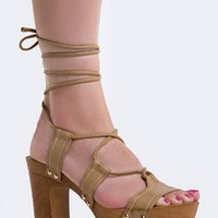 LACE UP WOODEN SANDAL