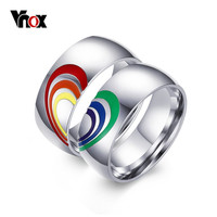 Vnox 2016 New Heart Rainbow Ring Gay and Lesbian LGBT Pride Wedding Rings Unique