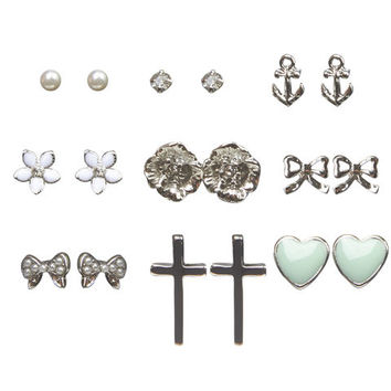Flower Button Earring 9-Pack | Wet Seal