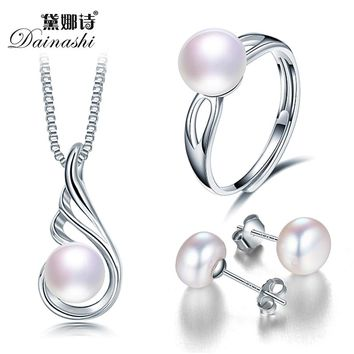 Elegant 2017 Fashion Jewelry Sets For Women, 8-9mm Bread Round High Luster Pearl Pendant Earrings And Ring With Beautiful Box