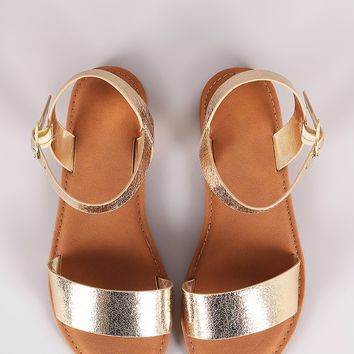 Sunny Feet Cracked Metallic One Band Ankle Strap Flat Sandal