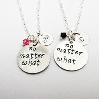 2 best friends necklaces with Swarovski birthstone and initial charm, no matter what necklace set of two, mother daughter set, bff necklace