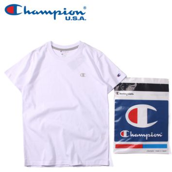 """champion"" print short sleeve  women round neck T-shirt man Cotton  pure color"