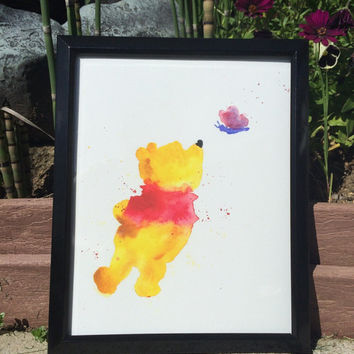 Winnie The Pooh Watercolor 8x10 Art Print Abstract Art Wall Art Childrens Room Decor Butterfly