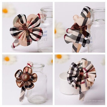 British Style Headband Plaid Hair Accessories Baby Hairband  Hair Bow Flower Headband Headwear Headwrap