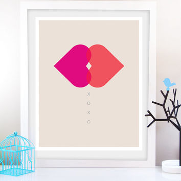 XoXo postert/ Hugs and Kisses Art Print/ Love Home Decor - Valentine Poster, Wedding poster Pink Typography poster wall decor bedroom decor