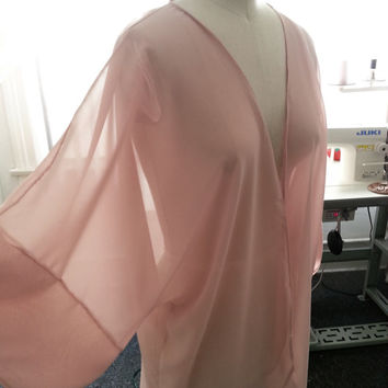 Blush Kimono Swimsuit Beach Cover up Dirty Rose Pink Caftan Handmade Solid Chiffon Robe