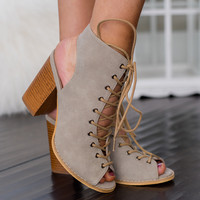 Lace Up My Love Cut Out Lace Up Booties (Beige)