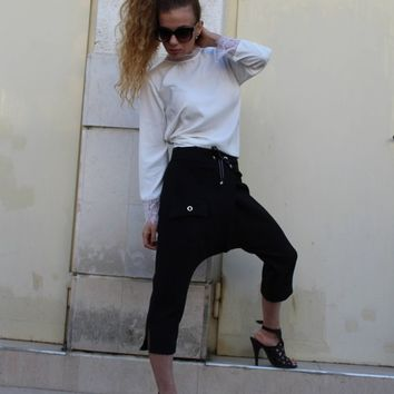 Harem Pants/ Black Casual pants/ Drop-Crotch Trousers/Loose/ Knee length/ Cropped pants