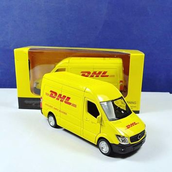 1/36 Scale Diecast Car Model Toys Commerical Vehicle Yellow Model For Express DHL Car Model   Collection Gifts