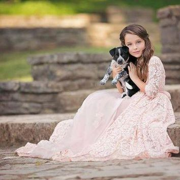 Half Sleeve Vintage Rustic Lace Girls Dress For Photograph Props Tulle Pink Dress For Girls Beach Flower Girl Dress For Weddings
