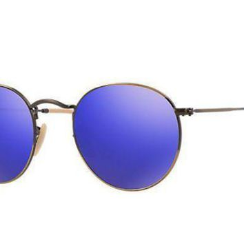 NOV9O2 Ray Ban Round Sunglass Brushed Bronze Blue Mirrored RB 3447 167/68