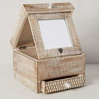 Folding Mirror Jewelry Box by Anthropologie Neutral Motif One Size Wall Decor