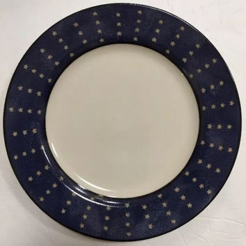 Coventry Genuine Stoneware 4 Salad Dessert Snack Plates Stars Liberty Pattern