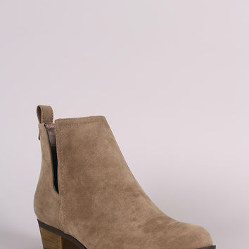 Breckelle Suede Side Cutout Cowgirl Booties