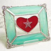 SeaGreen Frame with Red  Heart