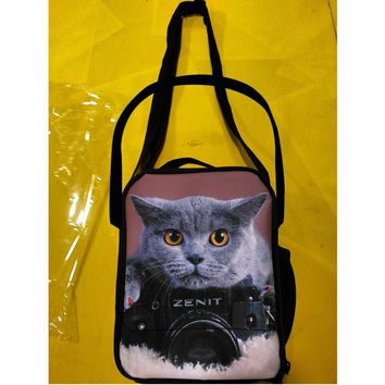 Cat Print Thermal Insulated with Shoulder Strap Lunch Bag 6 Styles