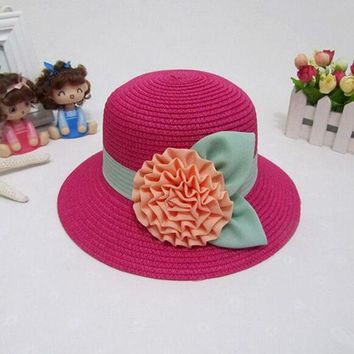 LMF78W 2017 NEW Children's Flower Sun Hats For Gril Summer Beach Straw Hat Free Shipping