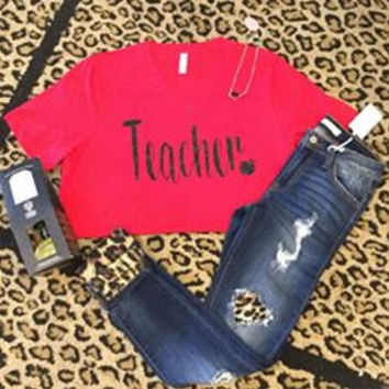 Teacher heart on red v neck with black glitter t-shirt