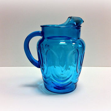 Blue Glass Pitcher Anchor Hocking Tulip by vintage19something