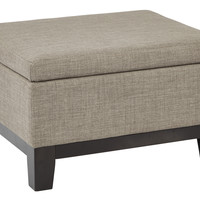 Ave Six Regent Upholstered Storage Ottoman with Reversible Tray in in Milford Dolphin Fabric with Dark Expresso Legs