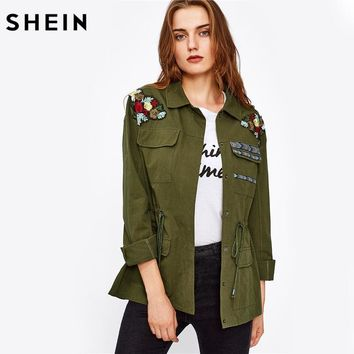 SHEIN Flower Embroidered Drawstring Waist Utility Jacket Autumn Jacket Women Green Single Breasted Lapel Women Coat