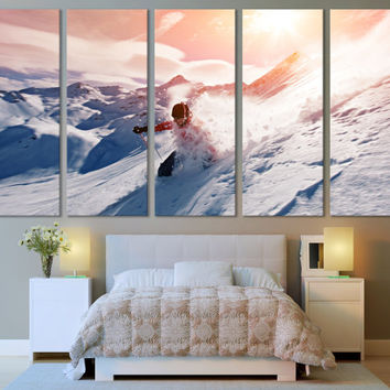 Winter Sports Ski Wall Art Mountain Wall Art / Sunrise Winter Sports Photography Canvas Print Ski Poster Print for Home & Office Decoration