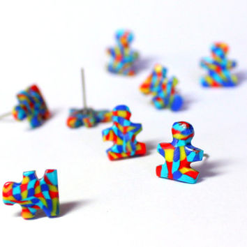 Autism Awareness Stud Earrings, Polymer Clay Autism and Asperger's Sydrome Puzzle Piece Earrings