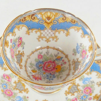 Blue Shelley Sheraton Tea Cup and Saucer Set, Signed, Tea Party, Wedding, English Bone China,13291, Ca. 1940's, Replacement China