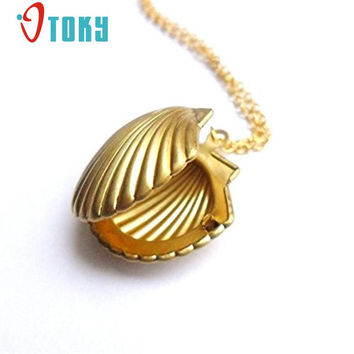 Hot Marketing New Fashion Seashell Locket Pendant Gold Locket Gold Brass Sea Shell Necklace Jewelry Drop Shipping S2526