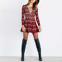 Red V-Neck Lace Dress With Drawstring Bust